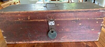 Antique Wooden Tool Box With Antique Yale Lock No Key