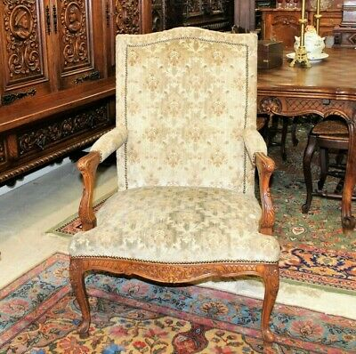 French Antique Louis XV Upholstered Armchair c. 1880s