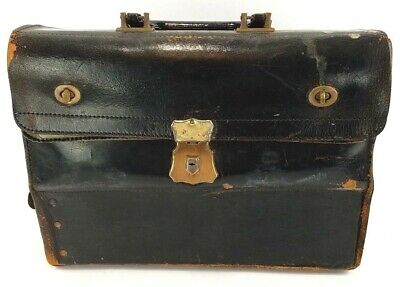Doctor Physician Bag Leather Medical Apothecary Large Black Steampunk LG Vintage