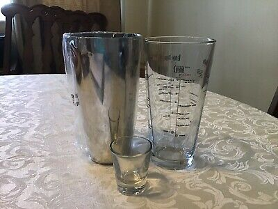 3 pc Libby Cocktail BAR SHAKER Set MIXING GLASS, MEASURING CUP & JIGGER KIT