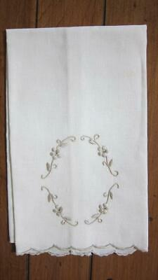 "Vintage Embroidered Off White Cream French Linen Hand Towel 11"" x 17"""