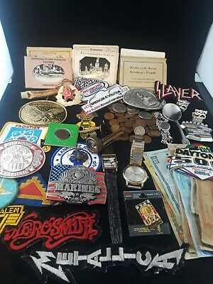 Estate Junk Drawer Lot  Watches US/Foreing Coins Belt Bucles, Patchess, Compass