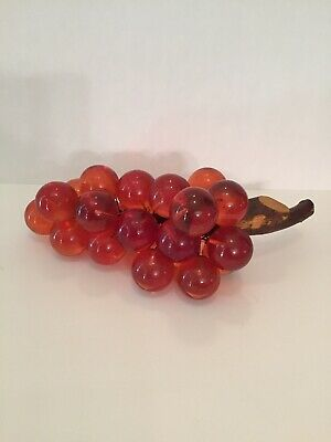 Mid Century Amber Grape Cluster On Stem Large Acrylic Glass Grapes Vintage