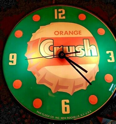 ORIGINAL VINTAGE 1950's LIGHTED ORANGE CRUSH PAM BUBBLE GLASS CLOCK SIGN