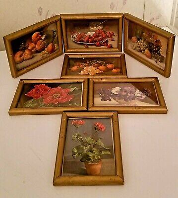 Vintage Lot of 7 Small Wood Gold Painted Frames with 1950s 1-cent Postcards