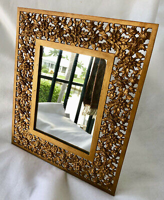 Antique Bradley & Hubbard Floral Cast Iron Gold Gilded Table Top or Wall Mirror