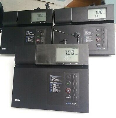 Orion Research 410A Benchtop 0-14 pH Level Temp Meter LCD Display - Lot of 3