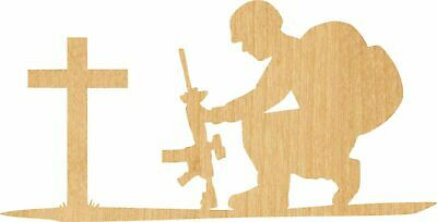 Soldier At Cross Laser Cut Out Wood Shape Craft Army - Woodcraft - Unfinished