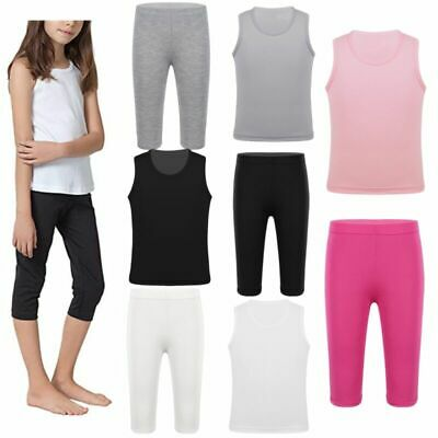 Kids Girls Cotton Tops T-shirt Trousers Tights Pants Kids Casual Clothes Outfits