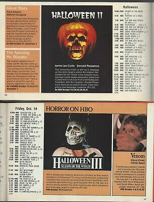 Halloween II & III Season Of The Witch Oct 1982/83 HBO Guides Michael Myers RARE