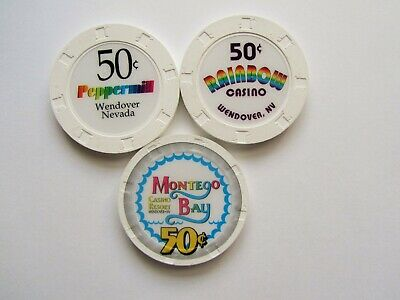 WENDOVER Casinos, Wendover, NV - OBSOLETE CASINO CHIPS - Lot of 3 -new releases