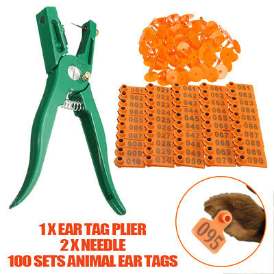 1-100 Ear Tags Livestock Goat Cow Cattle For Sheep Animal Lable + Marking Plier