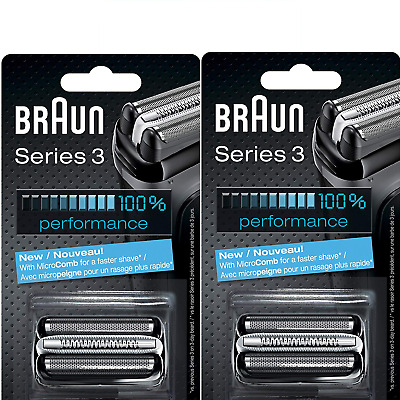 Two Braun 32B Series 3 Replacement Shaver Razor Head Foil and Cutter Cassette X2