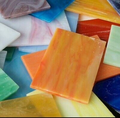 STAINED GLASS MOSAIC TILES 8cm X 5cm - 8 Tiles