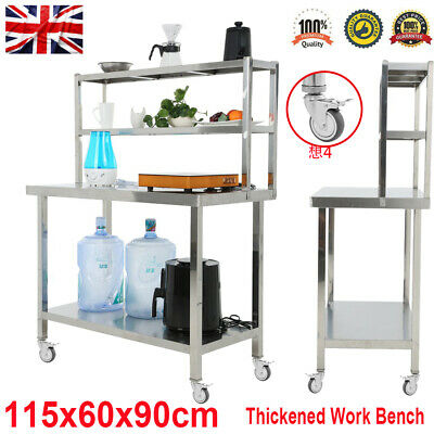 Stainless Steel Commercial Catering Table Work Bench Kitchen Worktop W/ Wheels