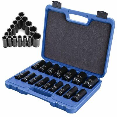"Metric DEEP IMPACT SOCKET Set 1/2""Dr 16pc 10mm-32mm 6PT Hex Long Reach Sockets"