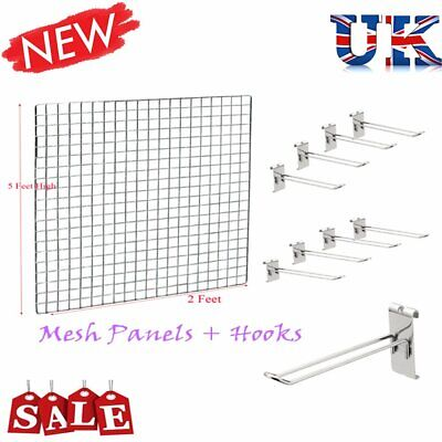Gridwall Hooks & Mesh Chrome Retail Shop Display Panels Bases Fixing Brackets