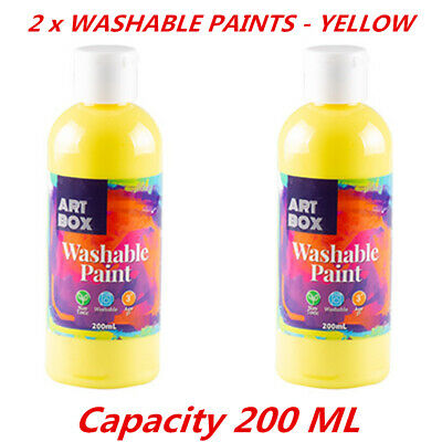 2 x Acrylic Yellow Color Artist Washable Paint Art Craft Radical Water 200ml