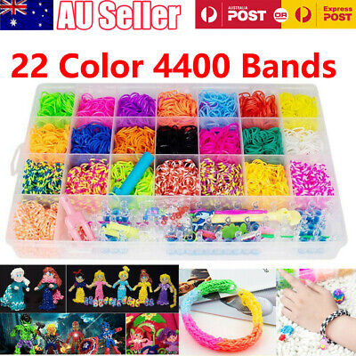4400 Rainbow Loom Band Bracelet Storage Kit Bands Board Loom Hooks Clips Charms