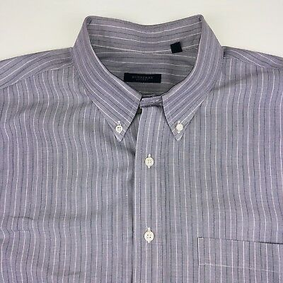 Burberry Mens Button Front Striped Gray L/S Shirt Size XL Authentic