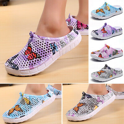Women's Print Slippers Hollow Out Beach Sandals Clogs Holiday Garden Hole Shoes