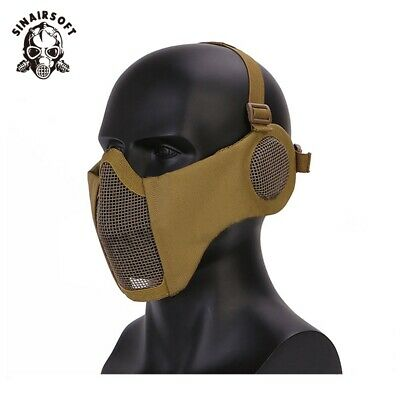 Tactical Airsoft Military Steel Mesh Half Face w/ ear Protective Mask Paintball