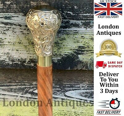 Classic Style Wooden Walking Stick  Brass Handle Flower Top Finish Fordable Cane
