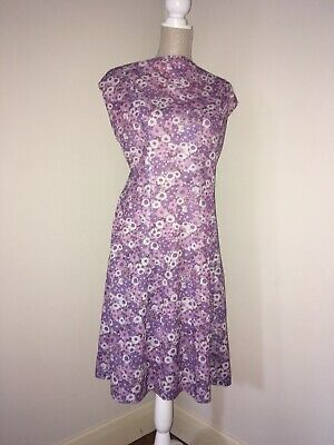 True Vintage 1960s 1970s Purple Floral Shift Gogo Dress Size 20 22 50 Inch Bust