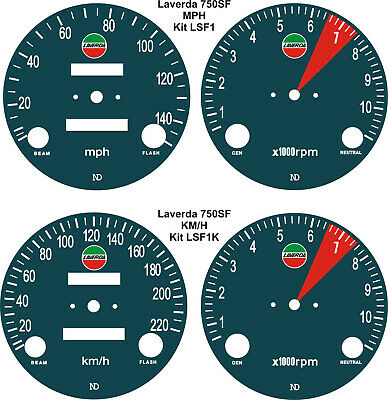 Laverda Jota 3C 750Sf & 500 Montjuic Speedo Tach Rev Counter Gauge Dial Overlays
