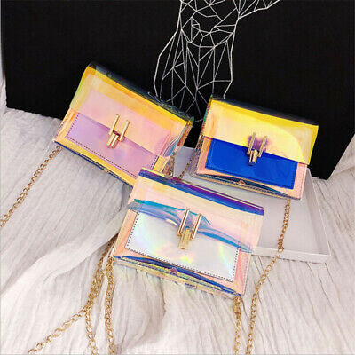 Women Laser Colorful Transparent Shoulder Bag Tote Jelly Summer Beach Handbag LA