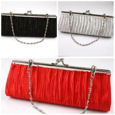 Ladies Satin Pleated Evening Wedding Prom Envelope Clutch Hand Bag Delicate LA