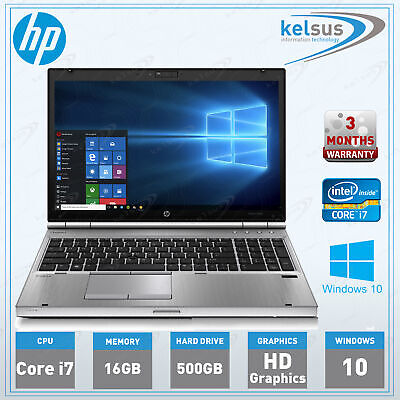 "HP EliteBook 8570p Core i7 15.6"" inch Laptop 16GB RAM 500B HDD Windows 10 PC"