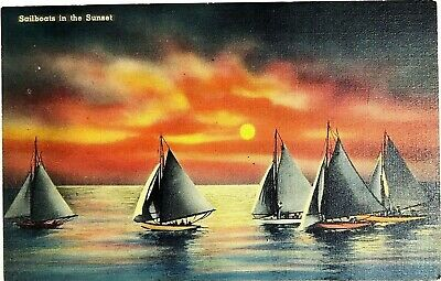 Boats Sailboats In The Fiery Sunset Lovely Tichnor Bros Vintage Linen Postcard