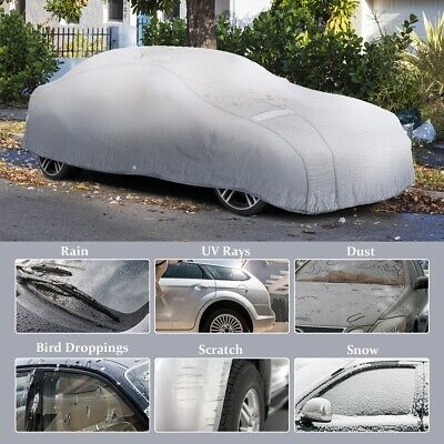 3 Layer Heavy Duty Waterproof Car Full Cover Cotton Scratch UV Proof Large Size