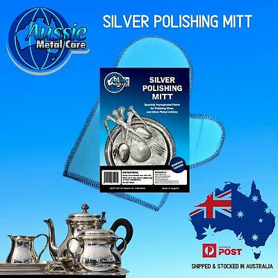 AMC Impregnated Silver Polishing Mitts for Cleaning & Polishing Silver 1 Pair
