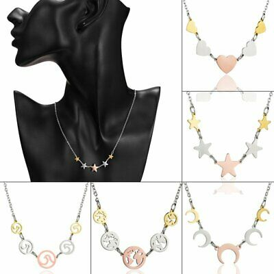 Women Stainless Steel Clavicle Choker Multicolor Heart Moon Necklace Pendant Hot