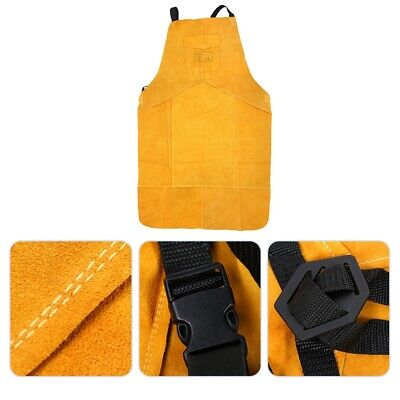 Full Cowhide Leather Welding Bib Blacksmith Heat Resistant Protection Work Apron