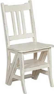 Chair Scala Ladder Convertible Wood Mahogany White Pickled Finish Vintage Home