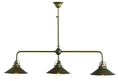 Lamp Chandelier Brass Burnished with Bell a 3 Cones Long 1 Meter Counter