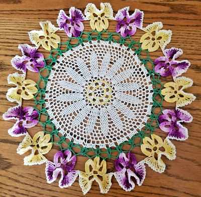 """12 1/2"""" Hand-Crocheted Pansy Doily"""