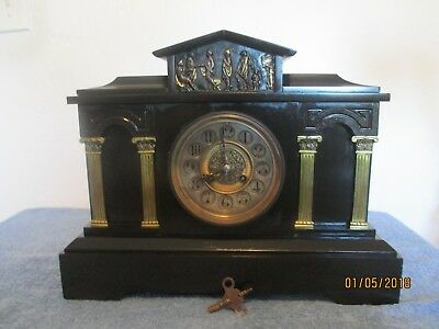 Large French Black Marble Column S. Marti  Mantle Clock