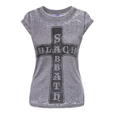 Official T Shirt BLACK SABBATH Charcoal VINTAGE CROSS BURNOUT Band Tee All Sizes