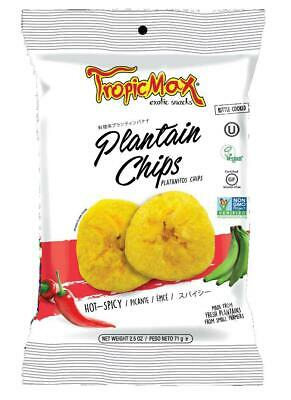 TropicMax Vegan and Gluten Plantain Chips 71g - Hot&Spicy (Pack of 24)