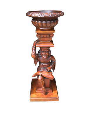Whimsical Antique French Jester Plant Stand, 19th Century, Walnut