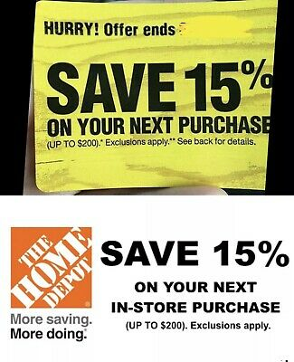 ONE 1x Home Depot 15% OFF Coupon -Instore ONLY Save up to $200