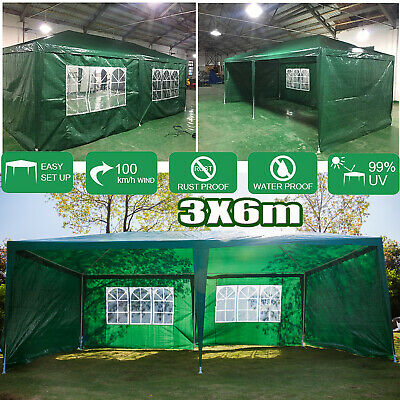 6x3m Gazebo Marquee Party Tent Waterproof Garden Patio Outdoor Canopy+Sidewalls
