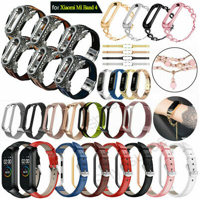 Replacement Stainless Steel Leather Wristband Band Strap For Xiaomi Mi 4 2019