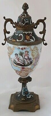 19C French Porcelain & Bronze Mounted Champleve Enamel Cabinet Urn w/ Putti