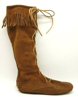 430eb52d691d5 Minnetonka Brown Suede Leather Fringe Rim Lace Up Tall Moccasin Boots  Women's 7
