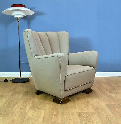 Mid Century Art Deco Vintage Danish Pale Violet Cotton Club Lounge Arm Chair 40s